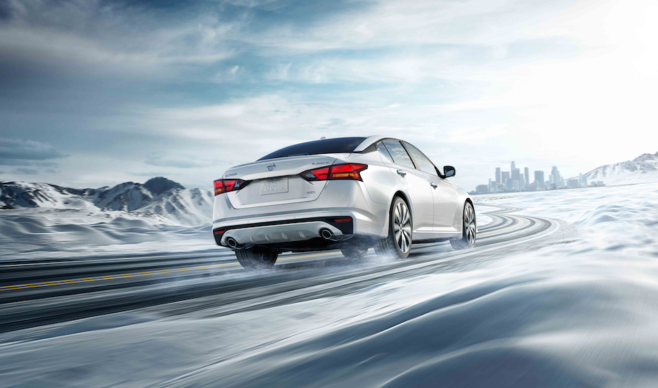 The 2019 Nissan Altima in snow